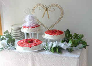 Wedding Cake Decorated with Fresh Strawberries