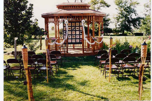 The gazebo readied for a wedding